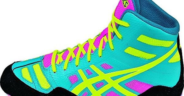 Asics Men S Jb Elite Wrestling Shoe Teal Flash Yellow Pink 9 M Us