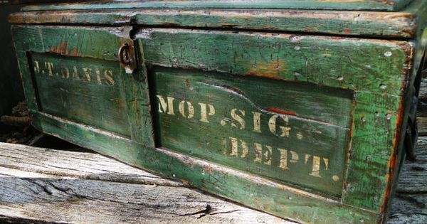 Factory Industrial Vintage Storage Trunk Chest Wood Box