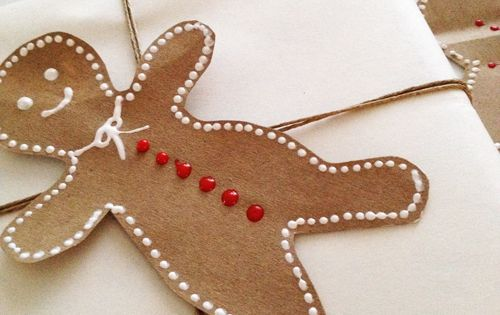 Paper gingerbread man gift tags