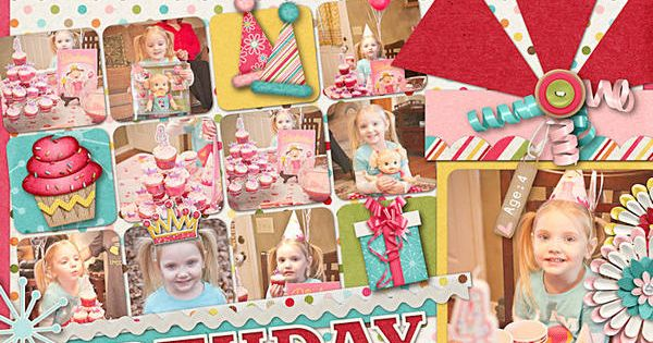 Birthday layout - using 2x2 prints and one bigger picture