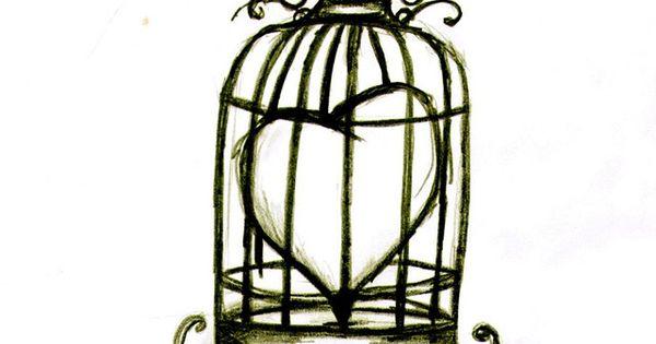 Bird caged heart tattoo