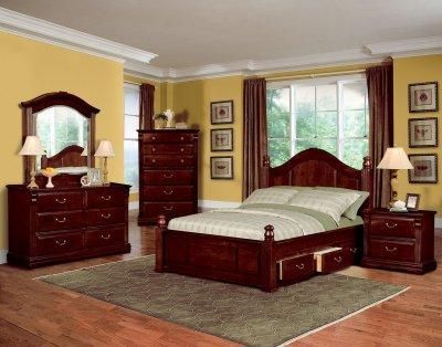 Louis Philippe Sleigh Bedroom Set in Cherry 200431