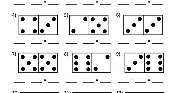 Math worksheets kindergarten domino worksheets http www math