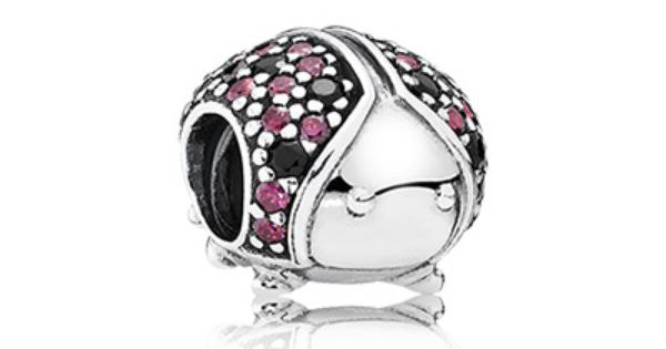 PANDORA   Ladybird pave silver charm with fancy red cubic ...