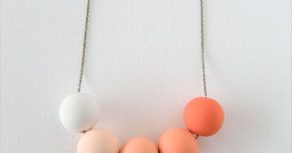 Orange Ombre Beaded Polymer Clay Necklace by AQuietCuriosity, $32.00