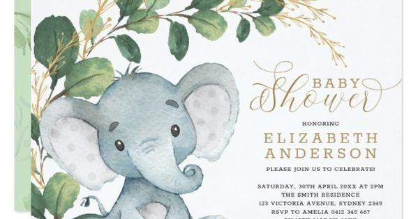 Neutral Elephant Soft Greenery Gold Baby Shower Invitation Zazzle Com In 2020 Baby Shower Invitations For Boys Gold Baby Showers Garden Baby Showers