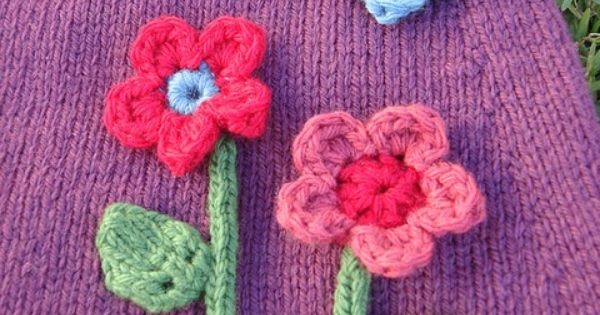 Simple Knit Leaves & Stems, with Crocheted Flower Blossoms