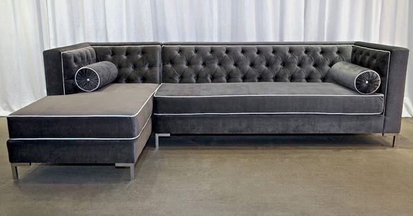 Decenni Tobias Regency Velvet Tufted 8 Foot Sectional By Decenni Custom Furniture Furniture