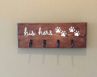 His Hers Dog Entryway Key And Leash Holder Engagement Gift For Dog Loving Couple Stained Wood Sign Wedding Gift For Him And Her Dog Leash Holder Decor
