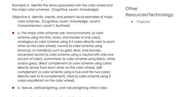 color schemes part 1 lesson plan housing interior