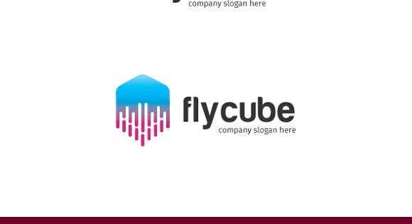 cube – flying cube logo – suitable for technology startup