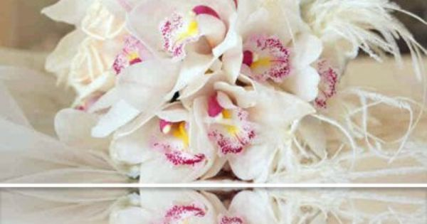 Orchid bouquet - White orchid bouquet with ostrich feathers