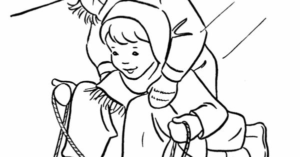 sledding coloring pages for kids - photo#27