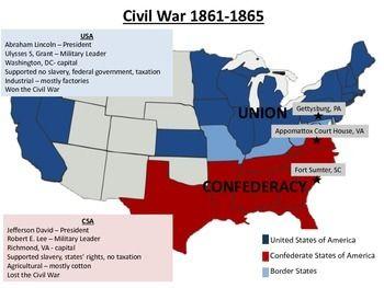 Civil War Map | History classroom, History activities