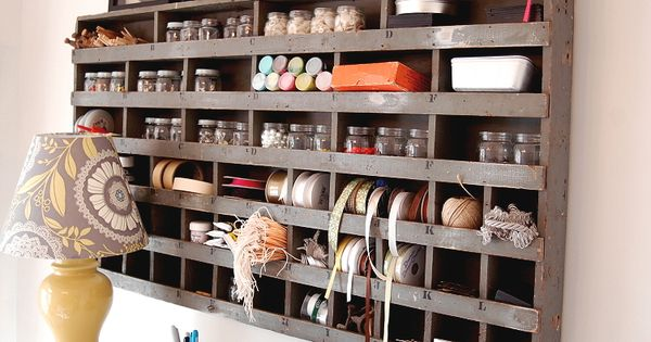 Vintage craft storage ~ so Anthropologie! Great craft room makeover v