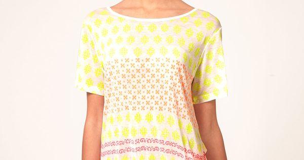 Enlarge Heti's Colours Neon Hand Block Printed Boyfriend Tee