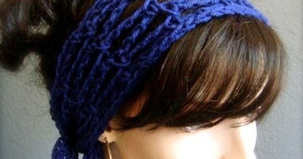 Navy Hand Crochet Hair Scarf byKEONA - Accessories on ArtFire DIY ...