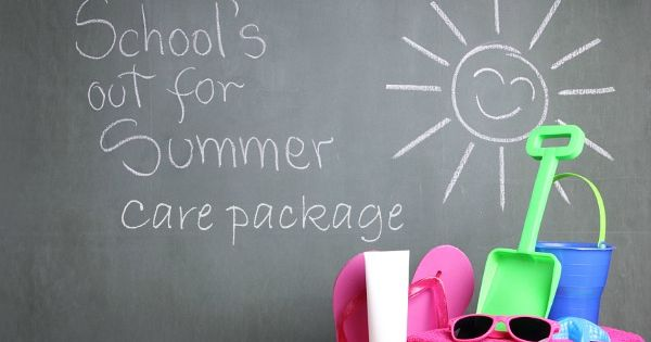 Schools out summer care package for kids. This is so fun!