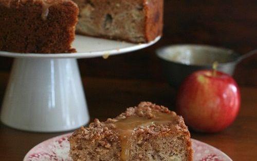 Apple Cake Keto Recipe: Low Carb Caramel Apple Coffee Cake. LCHF Keto Banting THM