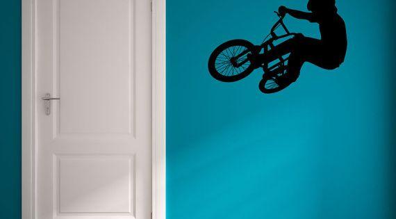 Bmx bike wall decal bike art bike wall decorations bike for Bmx bedroom ideas