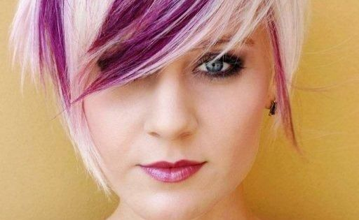 Pink And Purple Hair Styles: Purple Streaks In Brown Hair Pixie Cut