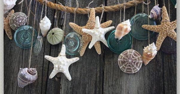 sea shells on rope for bathroom