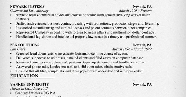 Commercial Law Attorney Resume Sample - Law Job Search Resources - sample witness statement
