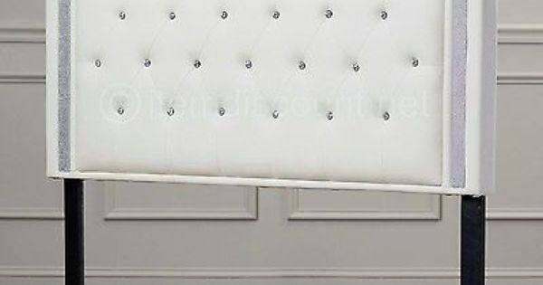 White Leather Button Tufted Rhinestone Crystal Bed Headboard Queen Full Twin Wicker Bedroom Furniture White Headboard Headboards For Beds