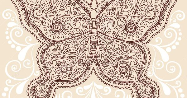 Mehndi Designs High Quality : Henna mehndi paisley butterfly doodle design download