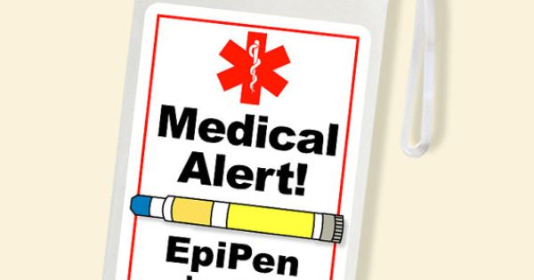 Allergy Alert Epipen Alert Bag Tag Laminated Luggage
