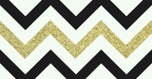 Black, White & Gold Glitter Chevron Print Wallpaper ...