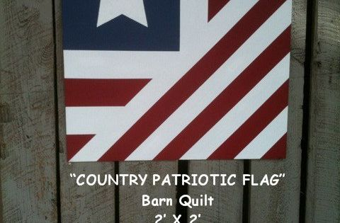 Painted Wood Barn Quilt Patriotic Country Flag Pattern