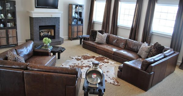 Family room living room dk brown leather sofa large jute - Living room curtains with matching pillows ...