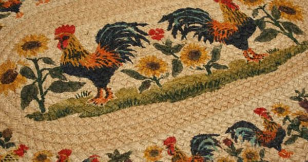 Country Braided Rugs Country Rug Rooster Sunflower Rug