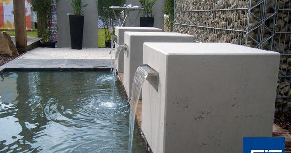 garten wasserfall beton kubus gropius zu aus z in. Black Bedroom Furniture Sets. Home Design Ideas