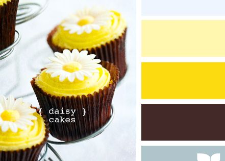 colour palette: - yellow, blue and brown