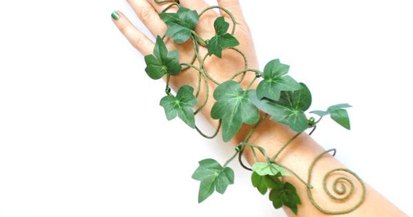 Poison ivy arm cuff slave bracelet leaves and vine whimsical woodland fancy