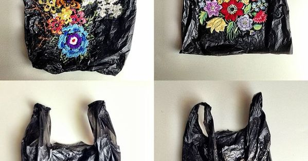 Embroi­dered bags you'd get at your local bodega/corner store. Who is the