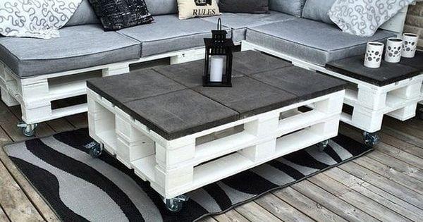 Sillones y mesa de centro hechos con palets decoraci n for Sillones fabricados con palets