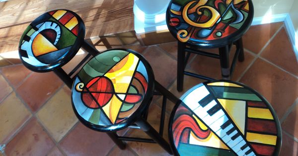 Hand Painted Abstract Bright Color Stools Artful