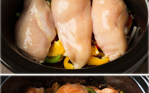 Slow Cooker Chicken Fajitas - these are easiest chicken fajitas yet they taste AMAZING!! My new go to recipe for fajitas. slowcooker crockpot recipe easy recipes