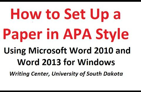 how to format a paper in apa style using microsoft word