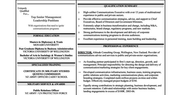 Senior Level Communications Executives Resume Sample