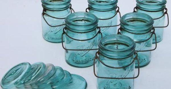Antique Ball Mason Jar Canisters 6 Vintage Aqua Blue Fruit Jars W Lightning Lids Ball Mason Jars Mason Jars Mini Mason Jars