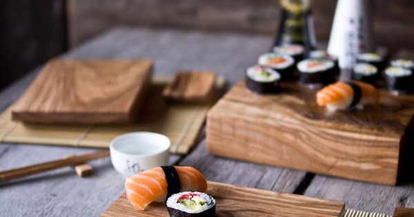 Hand Crafted Ash Wood Sushi Set I Love Nature Wooden