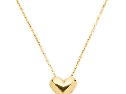Tiffany Co. Gold Puffed Heart Pendant Necklace