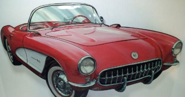 Large 21 Vintage Style 3d Die Cut Metal 1950 S Chevrolet Corvette Convertible Tin Sign Wall Mount