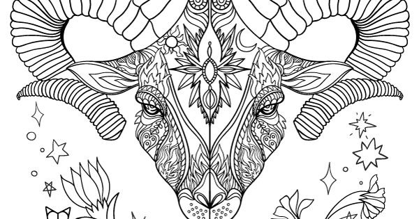 Free printable Zodiac adult coloring page featuring Aries ...