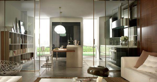 Salon cocina integrada decoracion pinterest cocinas for Puertas correderas salon decoracion