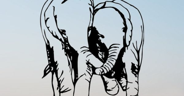 Shoply.com -In Love Elephants Handmade Original Papercut